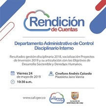 Rendición De Cuentas 2019 Departamento Administrativo de Control Disciplinario Interno