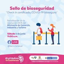 """Sello de bioseguridad """"check in certificado, covid-19 bioseguro"""""""