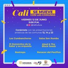 """Viernes de """"Cali se mueve"""" con las comunas. Todo el arte 12 de junio de 2020"""