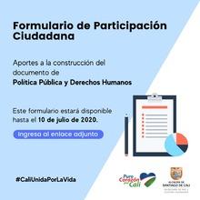 Haz tu aporte a la construcción del documento de Política Pública de Derechos Humanos para Santiago de Cali