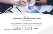 Primera Rendición de Cuentas del Departamento Administrativo de Control Interno 2020
