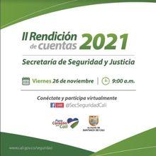 Invitación a Segunda Rendición de Cuentas Secretaria de Seguridad y Justicia 2021