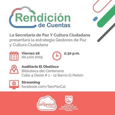 Rendición de cuentas - Secretaría de Paz y Cultura Ciudadana