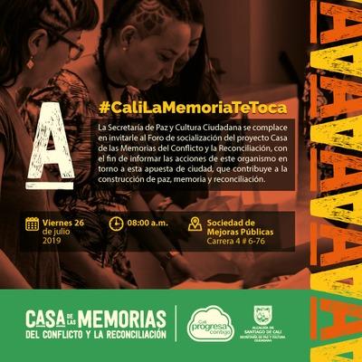 La Secretaría de Paz y Cultura Ciudadana socializará del proyecto Casa de las Memorias del Conflicto y la   Reconciliación.