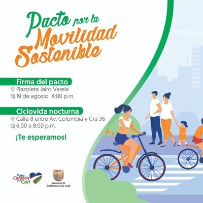 Pacto por la Movilidad Sostenible este jueves 19 de Agosto en la plazoleta Jairo Varela.