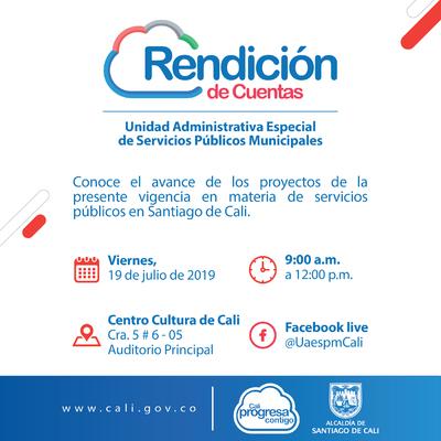 Rendición de Cuentas Unidad Administrativa Especial de Servicios Públicos Municipales
