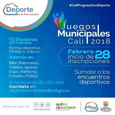 Inscripciones XIII Juegos Municipales Cali 2018