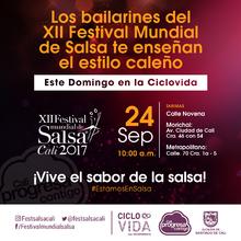 Los bailarines del Festival Mundial de Salsa en la Ciclovida