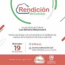Invitación Rendición de Cuentas - Secretaría de Cultura de Santiago de Cali - 02:00 P.M Salón Madera