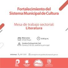 Mesa Sectorial literatura - 29 de mayo 2019 - Centro Cultural, carrera 5 No. 6-05 - Auditorio principal