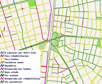Estructuración y creación del mapa de mantenimiento y rehabilitación de vías