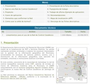 Página web para la nueva Red de Control Geodésico de Santiago de Cali