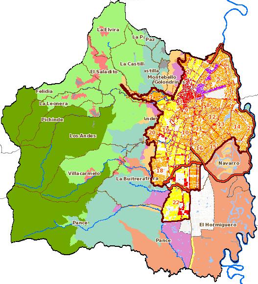 Mapa con la división política administrativa de Santiago de Cali, el cual muestra las áreas de manejo en la zona rural y las áreas de actividad en la zona urbana de acuerdo al POT 2014.