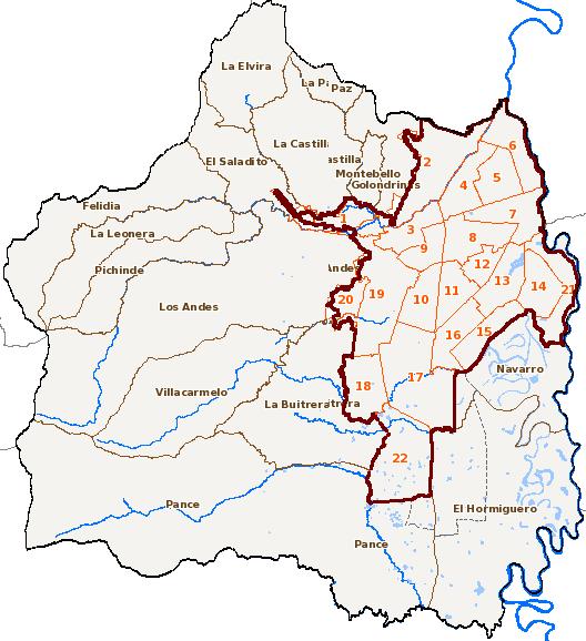 Imagen del Geovisor IDESC donde se muestra el mapa del Municipio.
